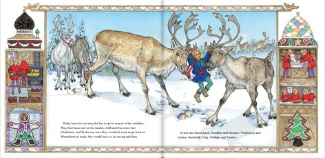 Illustration from The Wild Christmas Reindeer (Jan Brett)