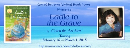 TOUR: Ladle to the Grave, by Connie Archer (guest post, review, & giveaway!)