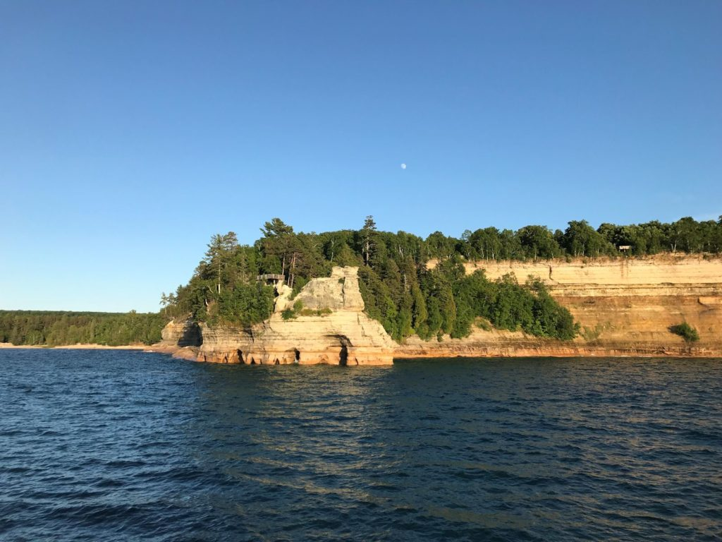 Photo of Pictured Rocks National Lakeshore, late evening, from the water.