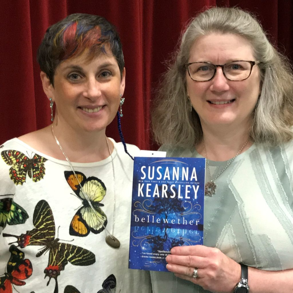 Susannah Kearsley and the blogger, Lark, with a copy of Ms. Kearsley's book, Bellewether.